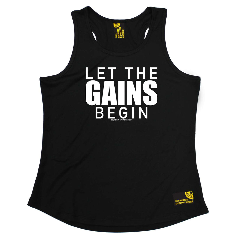 Sex Weights and Protein Shakes Womens Gym Bodybuilding Vest - Let The Gains Begin - Dry Fit Performance Vest Singlet
