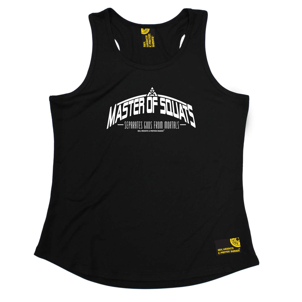Sex Weights and Protein Shakes Womens Gym Bodybuilding Vest - Master Of Squats - Dry Fit Performance Vest Singlet