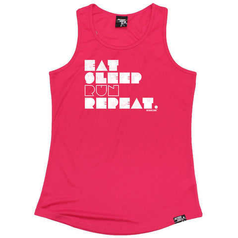 Personal Best Womens Running Vest - Sleep Run Repeat - Dry Fit Performance Vest Singlet