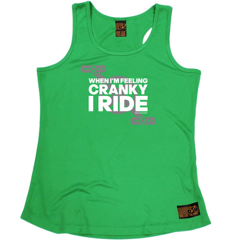 Ride Like The Wind Womens Cycling Vest - When Im Feeling Cranky - Dry Fit Performance Vest Singlet
