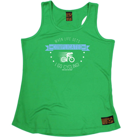 Ride Like The Wind Womens Cycling Vest - When Life Gets Complicated Cycling - Dry Fit Performance Vest Singlet