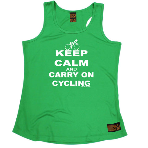 Ride Like The Wind Womens Cycling Vest - Keep Calm - Dry Fit Performance Vest Singlet