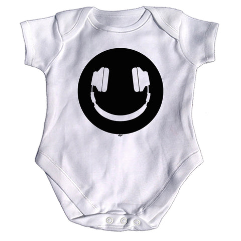 123t Funny Babygrow - Headphone Dj Smile - Baby Jumpsuit Romper Pajamas