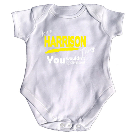 123t Funny Babygrow - Harrison V1 Its A Surname Thing - Baby Jumpsuit Romper Pajamas