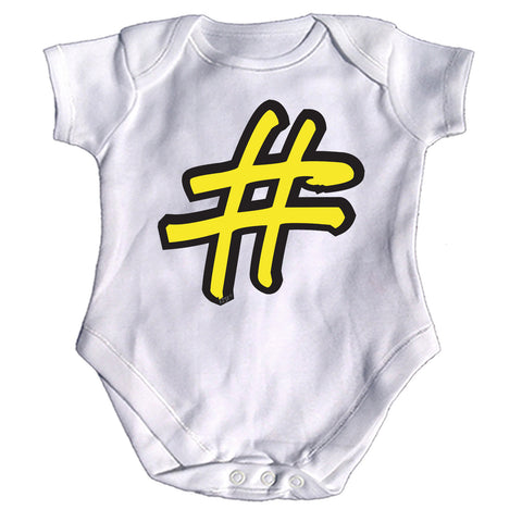 123t Funny Babygrow - Hashtag - Baby Jumpsuit Romper Pajamas