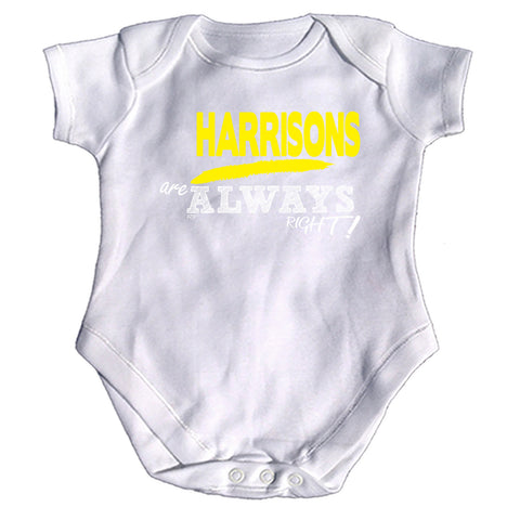 123t Funny Babygrow - Harrisons Are Always Right Surname - Baby Jumpsuit Romper Pajamas