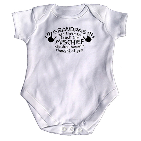 123t Funny Babygrow - Grandpas Are There To Teach The Mischief - Baby Jumpsuit Romper Pajamas