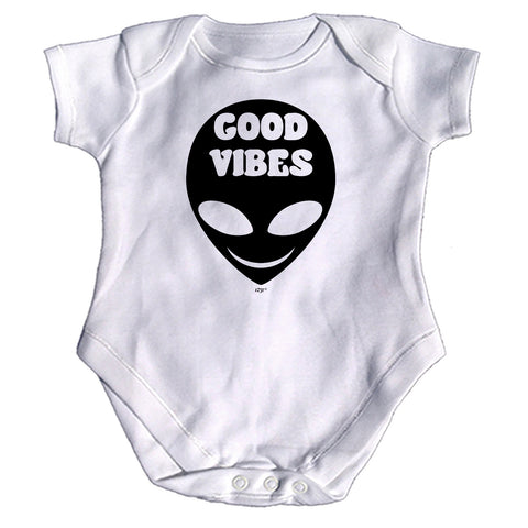 123t Funny Babygrow - Good Vibes Alien - Baby Jumpsuit Romper Pajamas