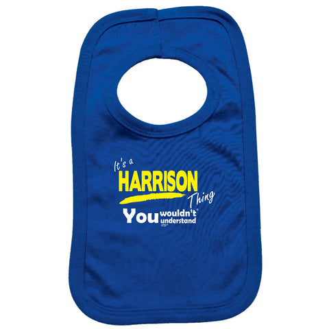 123t Funny Baby Bib - Harrison V1 Its A Surname Thing - Toddler Dinner Food Napkin