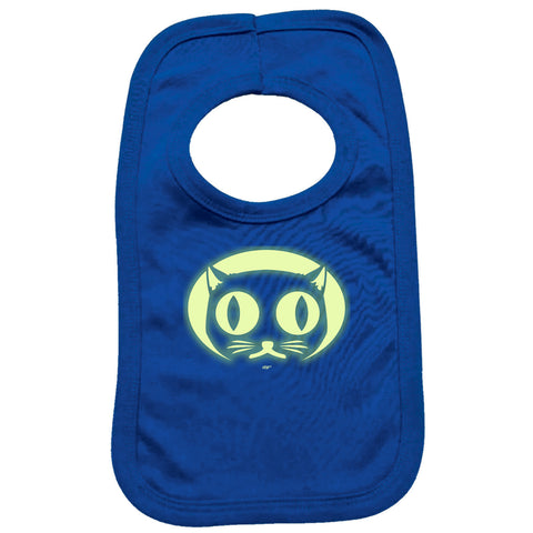 123t Funny Baby Bib - Halloween Cat Face Glow In The Dark - Toddler Dinner Food Napkin