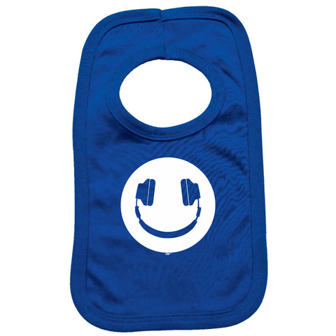 123t Funny Baby Bib - Headphone Dj Smile - Toddler Dinner Food Napkin
