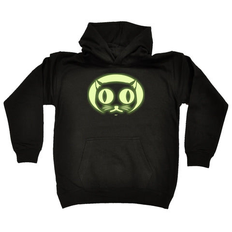 123t Kids Funny Hoodie - Halloween Cat Face Glow In The Dark - Childrens Hoody Hoodie Jumper
