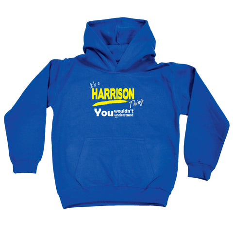 123t Kids Funny Hoodie - Harrison V1 Its A Surname Thing - Childrens Hoody Hoodie Jumper