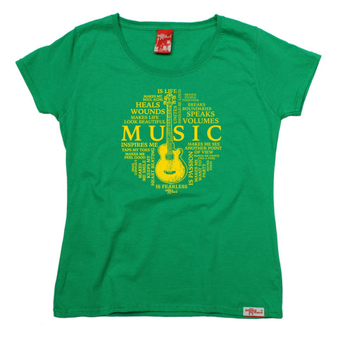 Banned Member Women's Music Is My Life Guitar Design Guitarist T-Shirt