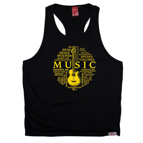 Banned Member Music Is My Life Guitar Design Guitarist Men's Tank Top