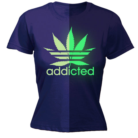 123t Women's Marijuana Addicted Leaf Glow In The Dark Funny T-Shirt