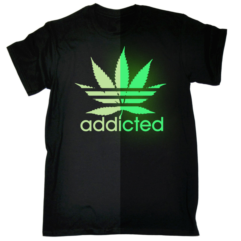 123t Men's Marijuana Addicted Leaf Glow In The Dark Funny T-Shirt