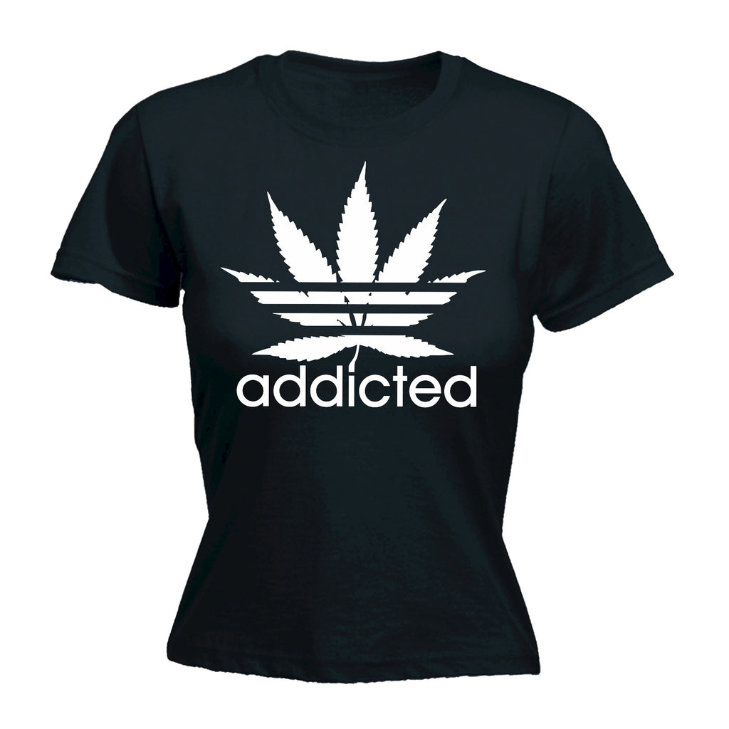 123t Women's Marijuana Addicted Leaf Funny T-Shirt
