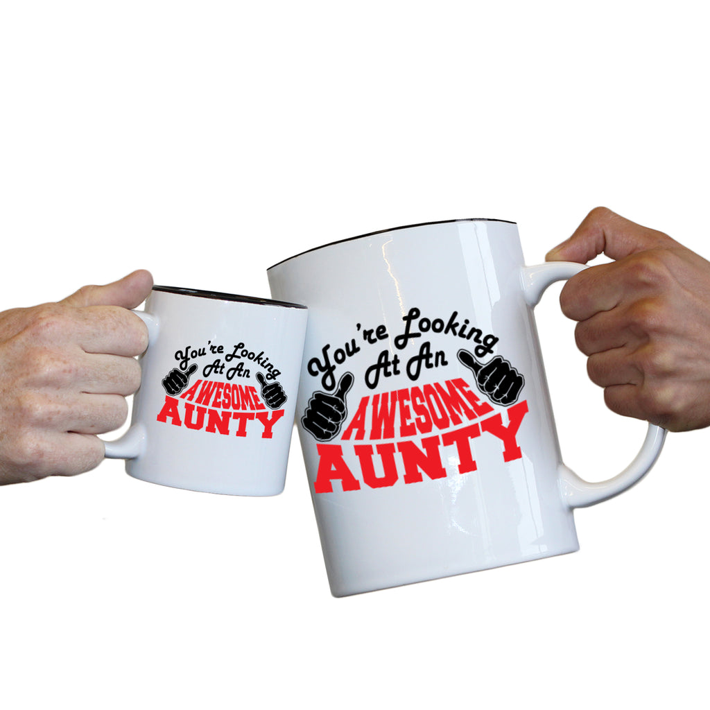 123T Novelty Funny Giant 2 Litre Mugs - Aunty Youre Looking Awesome - Birthday Christmas Gifts Worlds Biggest Coffee Cup