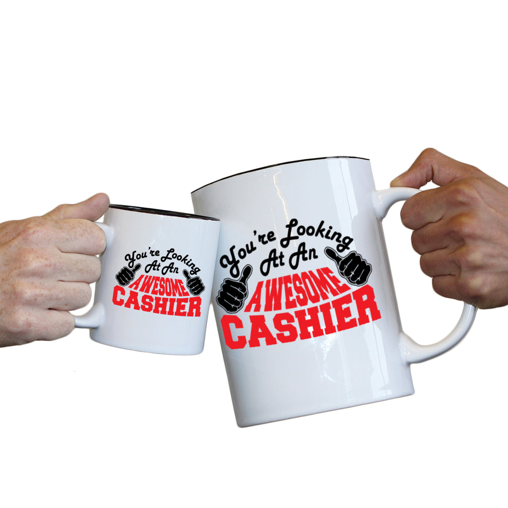 123T Novelty Funny Giant 2 Litre Mugs - Cashier Youre Looking Awesome - Birthday Christmas Gifts Worlds Biggest Coffee Cup