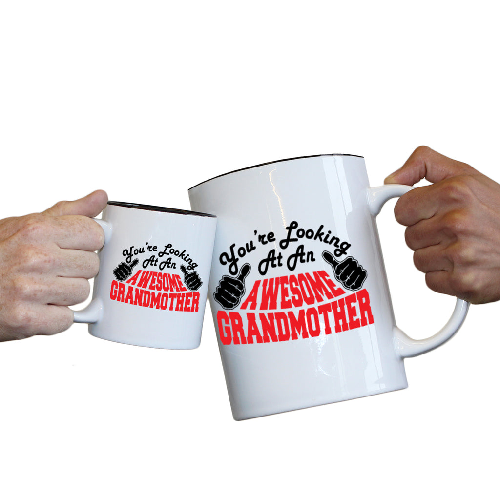 123T Novelty Funny Giant 2 Litre Mugs - Grandmother Youre Looking Awesome - Birthday Christmas Gifts Worlds Biggest Coffee Cup