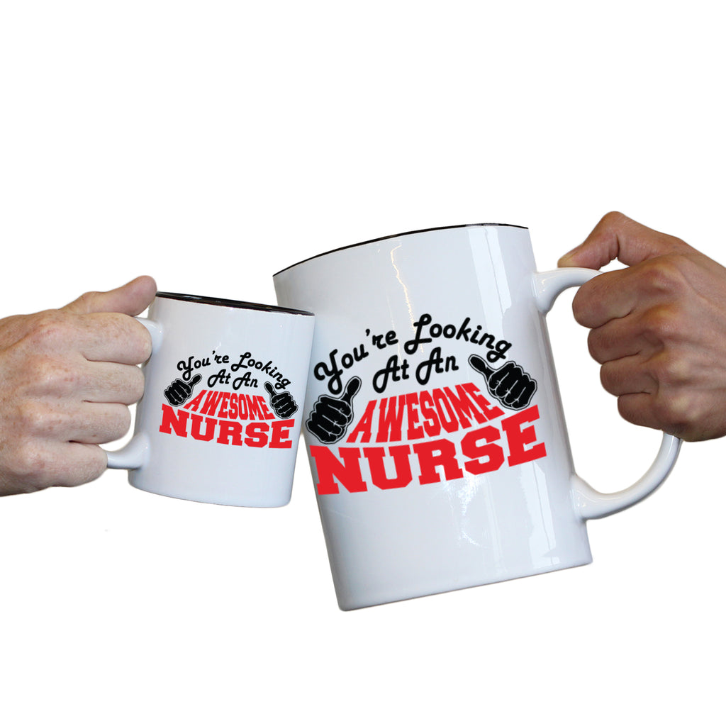 123T Novelty Funny Giant 2 Litre Mugs - Nurse Youre Looking Awesome - Birthday Christmas Gifts Worlds Biggest Coffee Cup