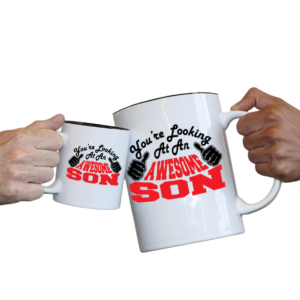 123T Novelty Funny Giant 2 Litre Mugs - Son Youre Looking Awesome - Birthday Christmas Gifts Worlds Biggest Coffee Cup