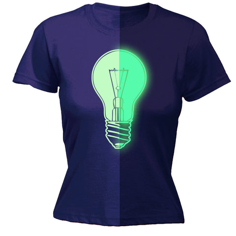 123t Women's Glow In The Dark Power Light Bulb Funny T-Shirt