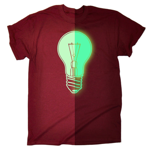 123t Men's Glow In The Dark Power Light Bulb Funny T-Shirt