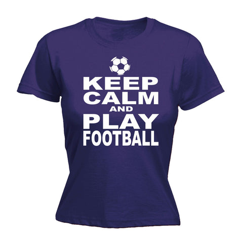 123t Women's Keep Calm And Play Football Funny T-Shirt