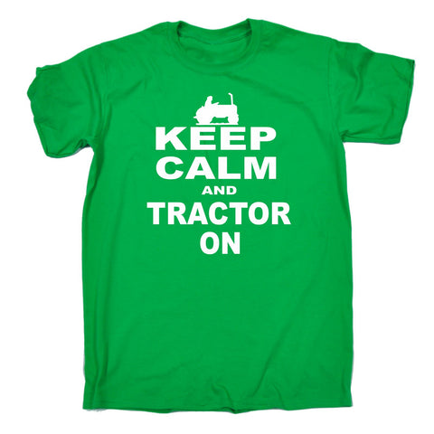 123t Men's Keep Calm And Tractor On Funny T-Shirt