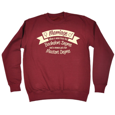 123t Marriage … Bachelor's Degree … Master's Degree Funny Sweatshirt