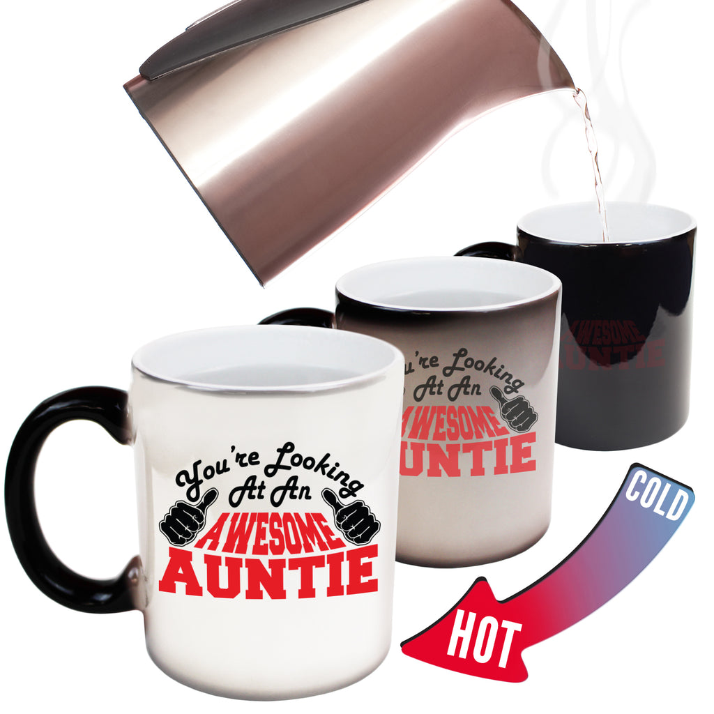123T Funny Colour Changing Mugs - Auntie Youre Looking Awesome - Birthday Gift Presents Christmas Coffee Cup