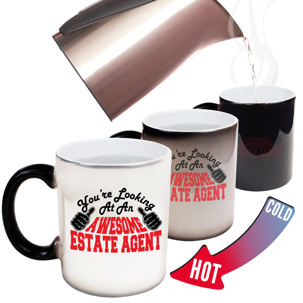 123T Funny Colour Changing Mugs - Estate Agent Youre Looking Awesome - Birthday Gift Presents Christmas Coffee Cup