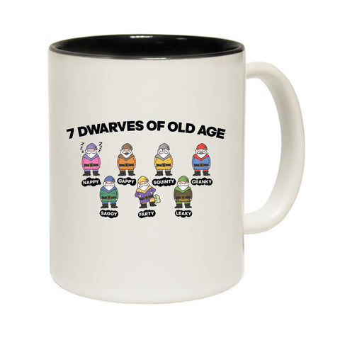 Funny Mugs - 7 Dwarves Of Old Age - Joke Kitchen Gift Birthday Pun BLACK NOVELTY MUG