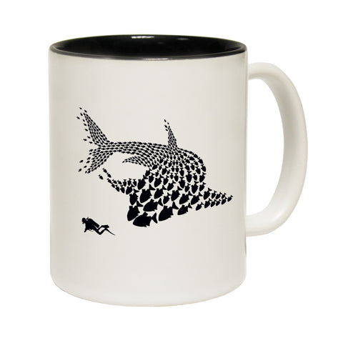Funny Mugs - Shark Fish Pattern - Joke Birthday Gift Birthday Pun BLACK NOVELTY MUG