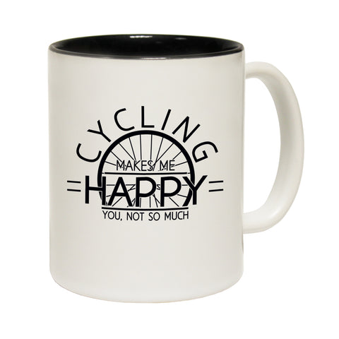 Funny Mugs - Cycling Makes Me Happy - Joke Birthday Gift Birthday Pun BLACK NOVELTY MUG