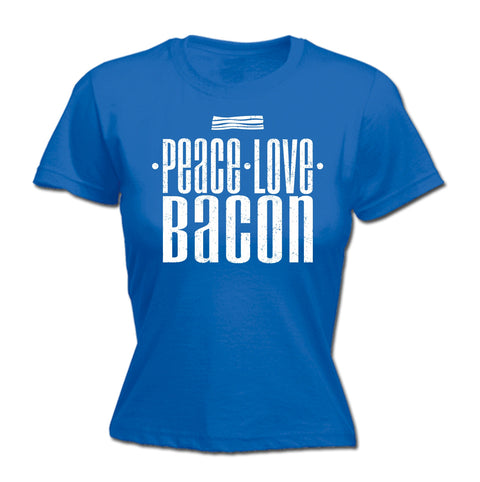 123t Women's Peace Love Bacon Funny T-Shirt