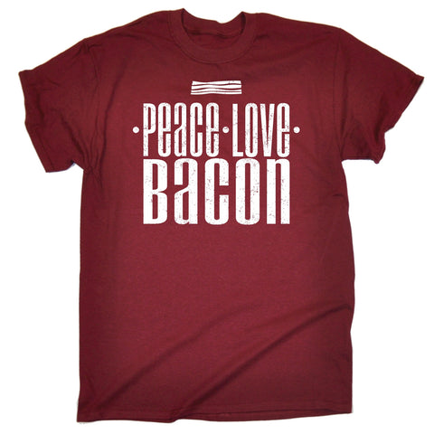 123t Men's Peace Love Bacon Funny T-Shirt