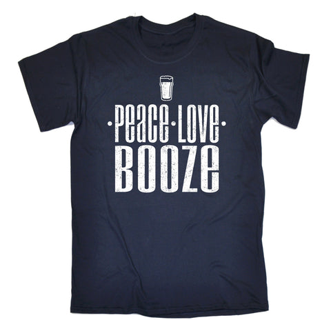 123t Men's Peace Love Booze Funny T-Shirt