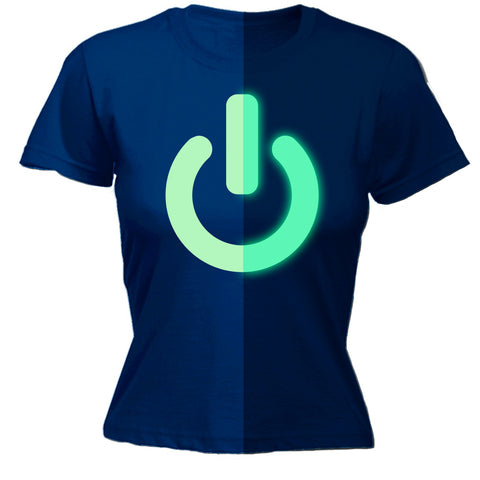 123t Women's Glow In The Dark Power Button Funny T-Shirt