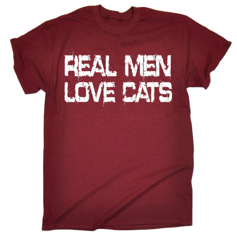 123t Men's Real Men Love Cats T-SHIRT Funny Christmas Casual Birthday Tee