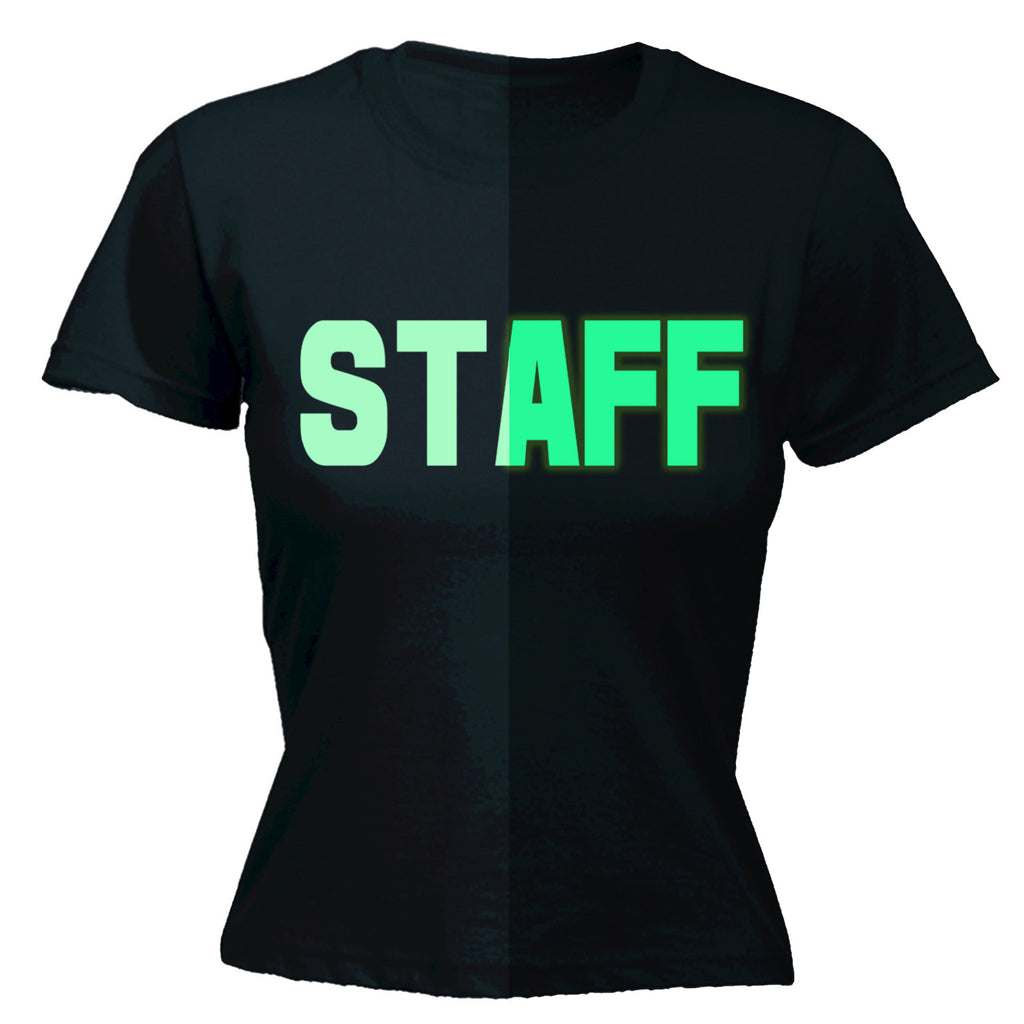 123t Women's Glow In The Dark Staff Front & Back Workwear T-Shirt