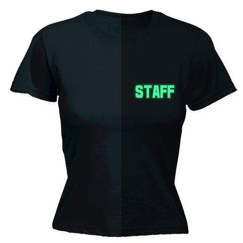 123t Women's Glow In The Dark Staff Breast Pocket & Back Workwear T-Shirt