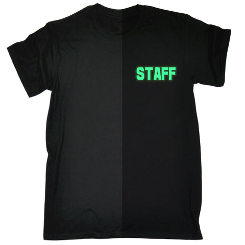 123t Men's Glow In The Dark Staff Breast Pocket & Back Workwear T-Shirt