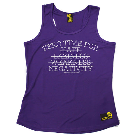 SWPS Zero Time For Hate … Negativity Sex Weights And Protein Shakes Gym Girlie Training Vest