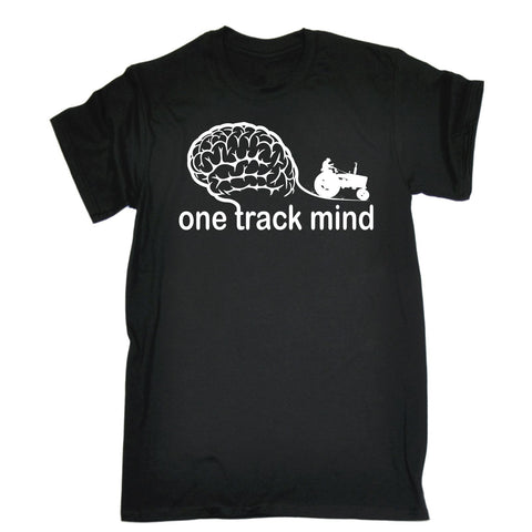 123t Men's One Track Mind Tractor Funny T-Shirt