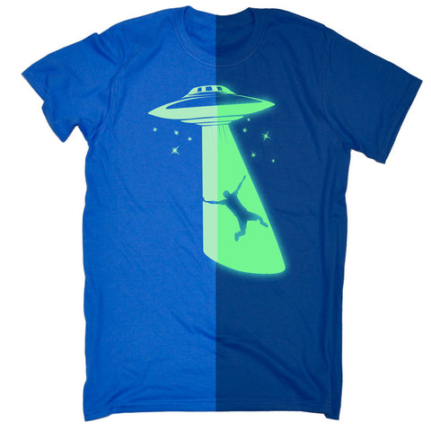 123t Men's Glow In The Dark UFO Spaceship Funny T-Shirt