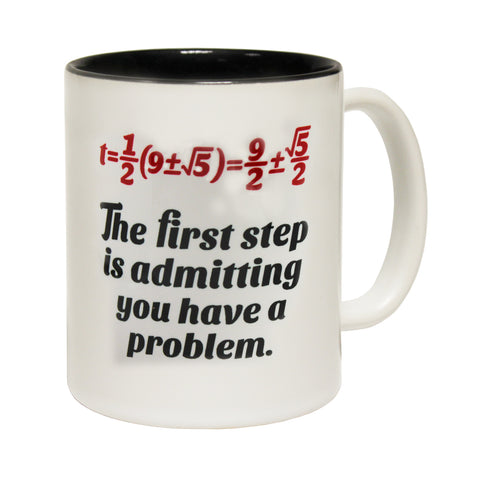 Funny Mugs - The First Step Formula - Joke Birthday Gift Birthday Pun BLACK NOVELTY MUG