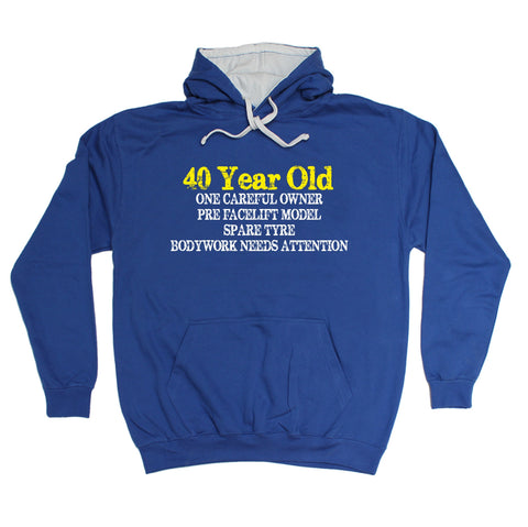 123t 40 Year Old ... One Careful Owner Funny Hoodie, 123t